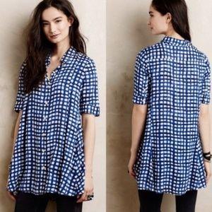 11-1-Tylho Anthro Gingham Tunic Dress Blue Tunic